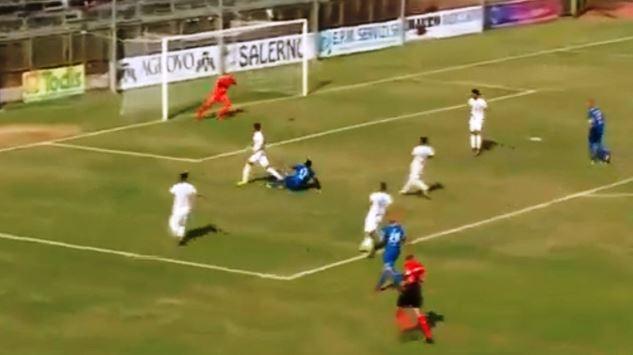 Paganese - Catania, il gol di Diop